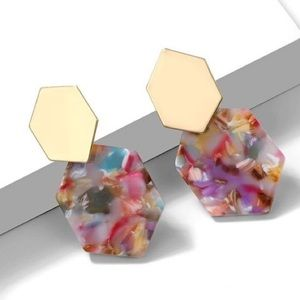 Multi Color Acrylic Post Earrings